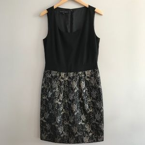 Lafayette 148 Sheath Dress Black & Gold Jacquard 8